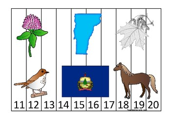 Vermont State Symbols themed 11-20 Number Sequence Puzzle Preschool Game.