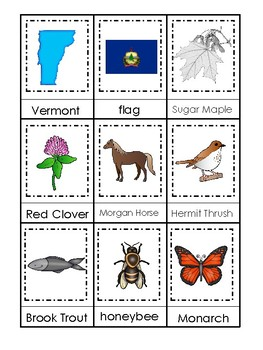 Vermont State Symbols themed 3 Part Matching Preschool Literacy Card Game.