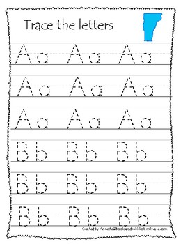 Vermont State Symbols themed A-Z Tracing Preschool Handwriting Worksheets.