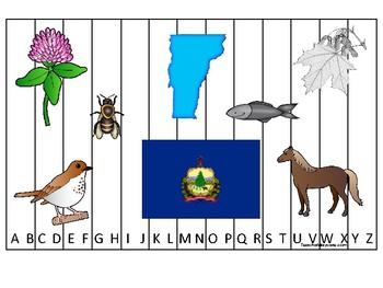 Vermont State Symbols themed Alphabet Phonics Sequence Puzzle Preschool Game.