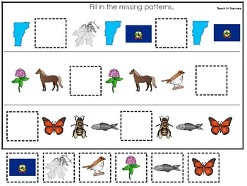 Vermont State Symbols themed Fill In the Missing Pattern Preschool Math Game.