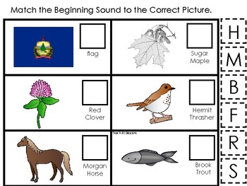 Vermont State Symbols themed Match the Beginning Sound Preschool Phonics Game.
