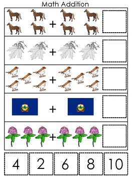 Vermont State Symbols themed Math Addition Preshool Learning Math Game.