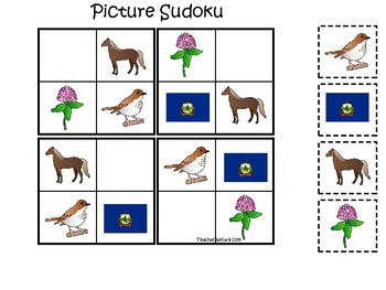 Vermont State Symbols themed Picture Sudoku Preschool Learning Math Game.