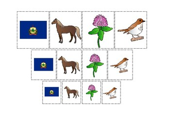 Vermont State Symbols themed Size Sorting Printable Preschool Math Game.