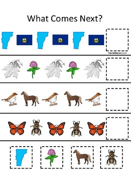 Vermont State Symbols themed What Comes Next Preschool Math Pattern Game.