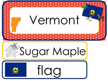 Vermont State Word Wall Bulletin Board Set. Geography Curriculum.