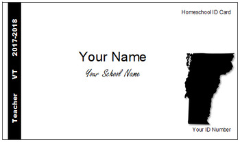 Vermont (VT) Homeschool ID Cards for Teachers and Students