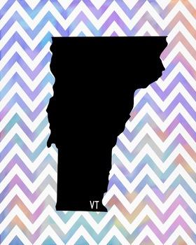 Vermont Chevron State Map Class Decor, Classroom Decoration