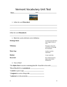 Vermont Watershed Study Guide/Assessment