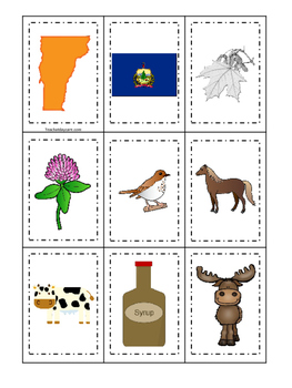 Vermont themed Memory Matching and Word Matching preschool curriculum game
