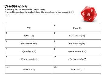 VersaTiles/Card Sort Probability with Die (Icosahedron)