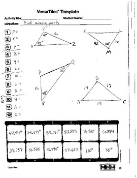 VersaTiles Law of SInes/Cosines Worksheet