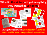 Versailles victors - 10-page full lesson (starter, notes, hexagonal card sort)