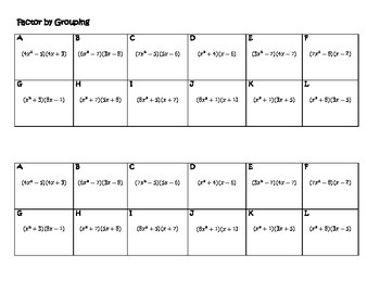Algebra Versatiles/Card Sort Factor by Grouping
