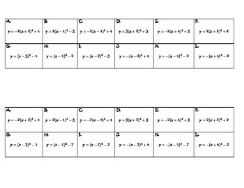 Algebra Versatiles/Card Sort Quadratic Functions & Graph