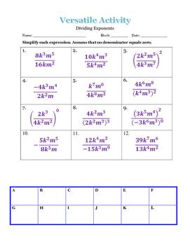 Versatile Dividing Exponents