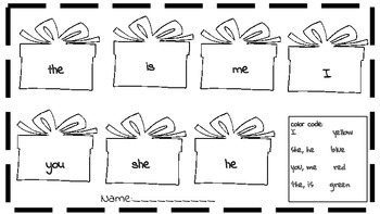 Versatile. Holiday Gift Box sight words Color Sheet OR Flashcards High Frequency