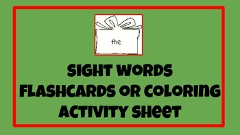 Versatile. Holiday Gift Box sight words Color Sheet OR Fla