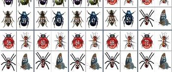 Insect Theme 0-100 Numeral Cards for Games with Task Cards