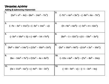 Algebra Versatiles/Card Sort Polynomial Addition & Substraction