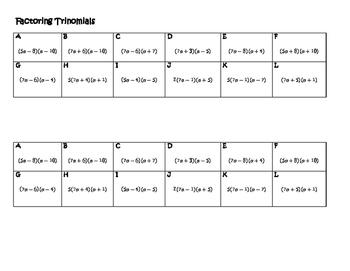 Algebra Versatiles/Card Sort Factoring Trinomials a greater than 1