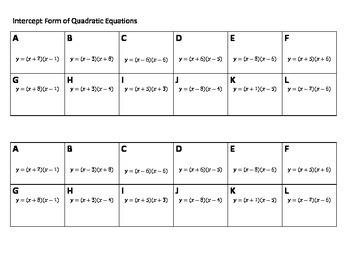 Algebra Versatiles/Card Sort Quadratics Intercept Form