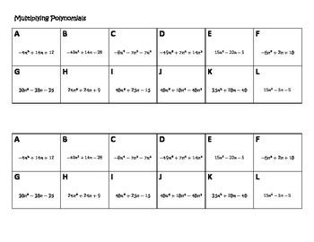 Algebra Versatiles/Card Sort Multiplying Polynomials