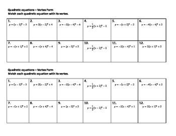 Algebra Versatiles/Card Sort Quadratics Vertex Form