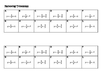 Algebra Versatiles/Card Sort Slope Intercept Form Linear Equations