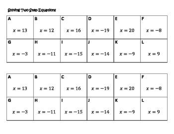 Algebra Versatiles/Card Sort Solving Two Step Equations