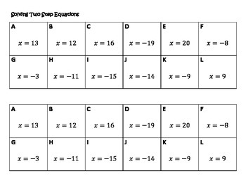 Algebra Versatiles/Card Sort Solving Two Step Equations