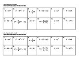 Algebra Versatiles/ Card Sort Literal Equations