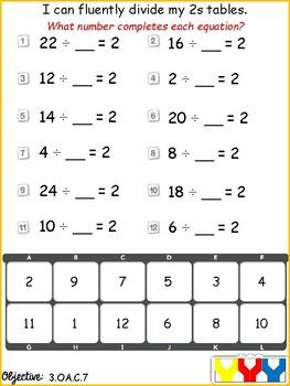 Versatiles Worksheets - Division Fact Fluency by Versa-Fun ...