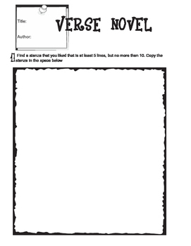 Verse Novel Graphic Organizer for Reading