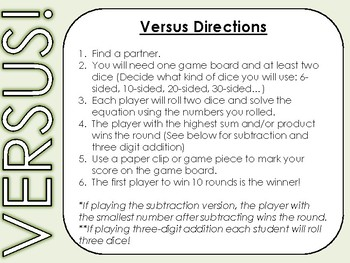 Versus Math Fact Dice Game Add Subtract Multiplication