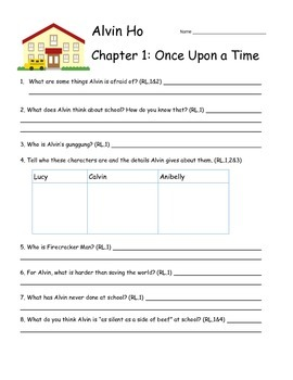 Alvin Ho Chapter 1 Comprehension Questions tied to Common Core