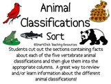 Vertebrate Animal Classifications Sort Packet