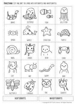 Vertebrate & Invertebrate Seek and Sort Science Doodle & Card Sort