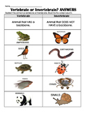 Vertebrate OR Invertebrate sort w/ realistic pictures- review, assess, center