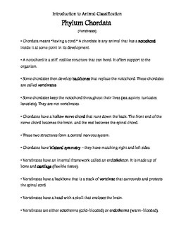 Vertebrate Unit Teacher Notes