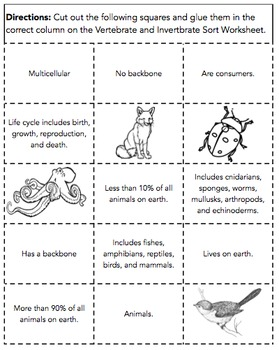 Vertebrate and Invertebrate Sort