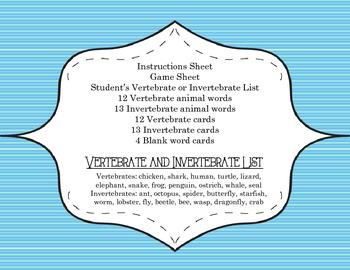 Vertebrate or Invertebrate  Concentration Game! - Science Center Game