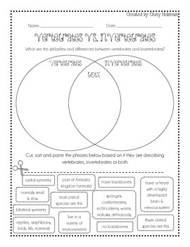 Vertebrate vs Invertebrate Venn Diagram