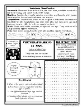 Vertebrate vs Invertebrate: Vertebrate Newspaper