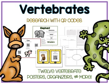 Vertebrates - Animal Research w QR Codes, Posters, Organizer - 12 Pack