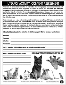 Vertebrates: Literacy, Observation, and Research Activity Game Package