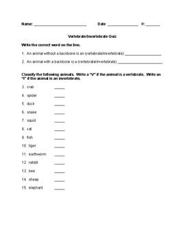 Vertebrates Quiz