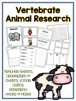 Vertebrates Research Project - 12 Types, Vocab Cards, Packet, Book & More