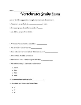 Vertebrates Study Jams